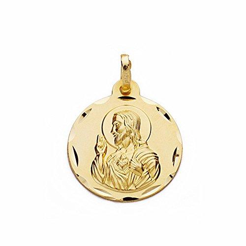 Médaille pendentif 18k 18mm en or Coeur de Jésus. sculpté sculptée [AA2490GR] - personnalisable - ENREGISTREMENT inclus dans le prix