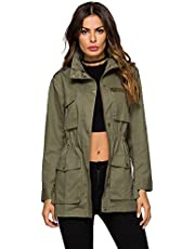 Escalier Women`s Anorak Jacket Lightweight Drawstring Hooded Military Parka Coat