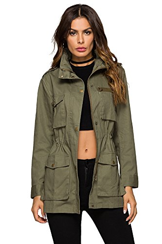 MEHEPBURN Women's Lightweight Military Anorak Parka Jacket with Drawstring Hooded Army Green 2XL