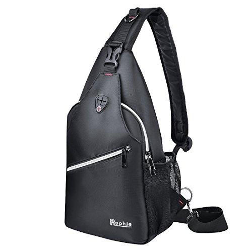 Chest Strap On - Rophie Sling Bag Pack Fits for bottle and iPad Chest Shoulder Crossbody Hiking Backpack Sport Bicycle Rucksack Handbag School Daypack for Men Women Boy Girl Teenagers -Black