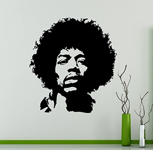 Jimi Hendrix Wall Decal Rock Guitarist Vinyl Sticker Rock and Roll Home Decor Ideas Living Room Interior Removable Wall Art 2(jmh) ()