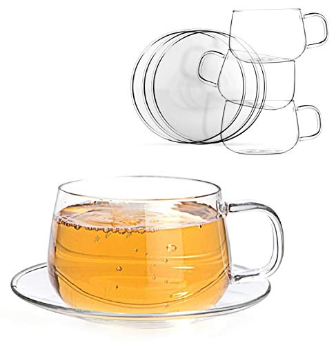 Tealyra - La Lune - Glasses - 10.1-ounce - Set of 4 - Clear and Lightweight Glass Tea and Coffee Cup with Saucer - -