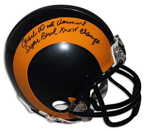(Coach Dick Vermeil St. Louis Rams Autographed Riddell Replica Mini Helmet Inscribed Super Bowl XXXIV Champs - Certified Authentic Signature)