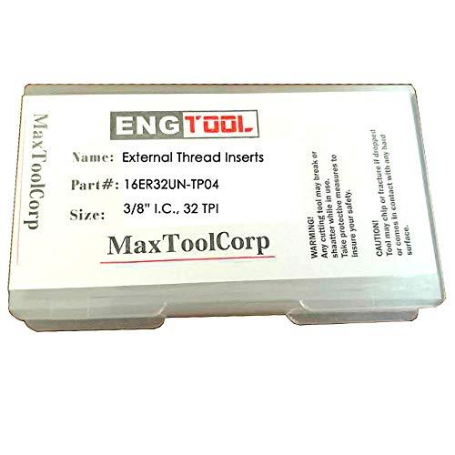 32 TPI Carbide TIAIN-Coated ; 16ER32UN-T02 MAXTOOL 2PCs 16ER32UN External American UN Full Profile Indexable Threading Inserts 3//8 I.C