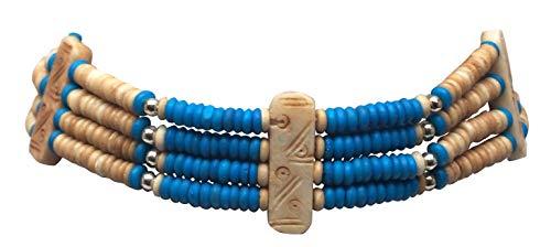 outROAR Gear Choker Necklace Brown/Beige Boho Style (Blue)