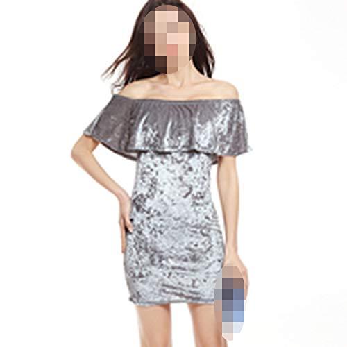 qentom Sexy Off Shoulder Sheath Velvet Mini Dress Slash Neck Strapless Women Party Dress, Silver Gray,XXL