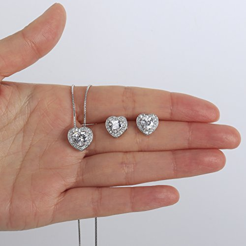 AMYJANE Crystal Jewelry Set for Women - Sterling Silver Small Heart Shaped Cubic Zirconia Birthstone Elegant Bridal Pendant Dangle Earrings Set for Girls Valentine's Day Gift by by AMYJANE (Image #5)