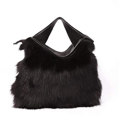 URSFUR Sac à Main/Cabas pour Femme en Fourrure de Renard(couleur noir)