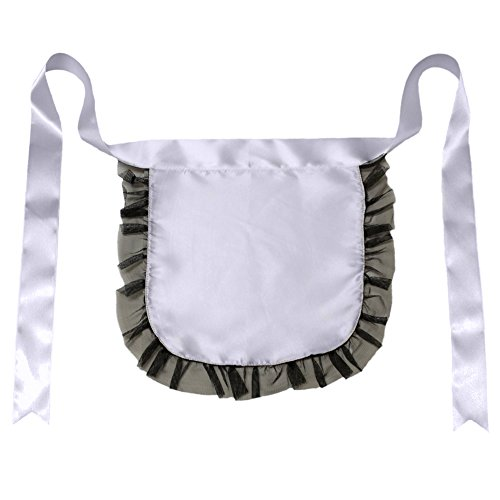 [Nurse or Maid Apron with Black Lace Ruffles ~ Halloween Costume Accessory] (Belle Halloween Costumes For Women)