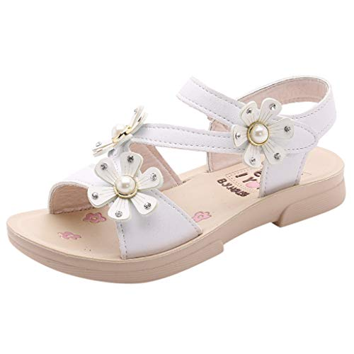 New in 2019 Respctful✿Girls' Open Toe Beach Sandals Summer Fashion Flat Flower Sandals Princess Flats Sandals White