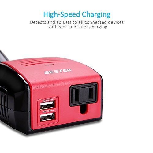 BESTEK 150W Power Inverter, DC 12V to 110V AC Car Inverter with 4.2A Dual USB Car Adapter by BESTEK (Image #1)