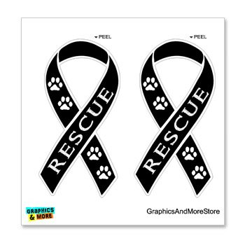 Pet Adoption Rescue - Graphics and More Rescue - Pet Adoption Awareness Ribbon - Black - Set of 2 - Window Bumper Locker Sticker