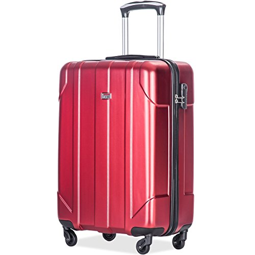 P.E.T Luggage Light Weight Spinner Suitcase 20inch 24inch and 28 inch Available (Red, 20-Carry On)