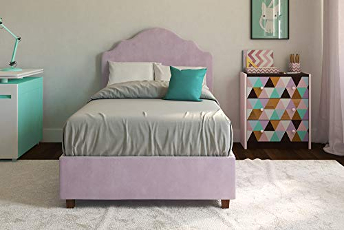 DHP Savannah Upholstered Platform Bed, Lilac, Twin