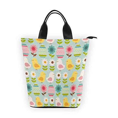 InterestPrint Nylon Cylinder Lunch Bag Easter Chick Eggs Reusable Tote Bag for $<!--$19.99-->