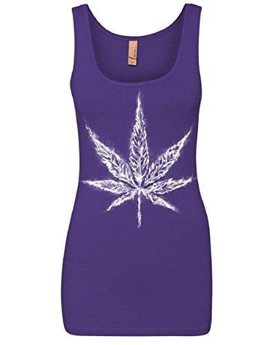 Smoking Marijuana - Tee Hunt Smoking Pot Leaf Women's Tank Top Smoking Weed 420 Marijuana Cannabis Top Purple L