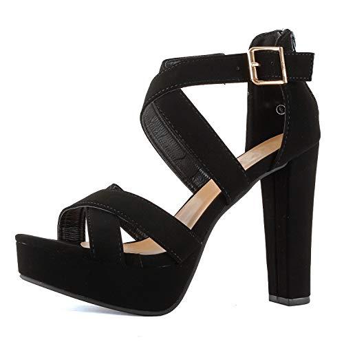 Guilty Shoes Women's Platform Ankle Strap High Heel - Open Toe Sandal Pump - Formal Party Chunky Dress Heel Sandals (7.5 M US, Black Pu)