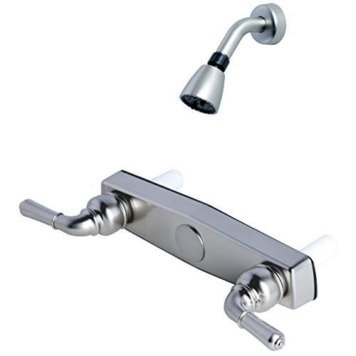 Builders Shoppe 3320BN/4010BN Mobile Home Two Handle Non-Metallic 8'' Shower Only Valve with Shower Head/Arm/Flange Brushed Nickel Finish by Builders Shoppe