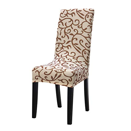 uxcell Dining Chair Cover,Stretch Bar Stool Slipcover Kitchen Chair Protector Spandex Pattern Chair Seat Cover for Home Decorative/Dining Room/Party/Wedding (Medium,Champagne +Coffee)