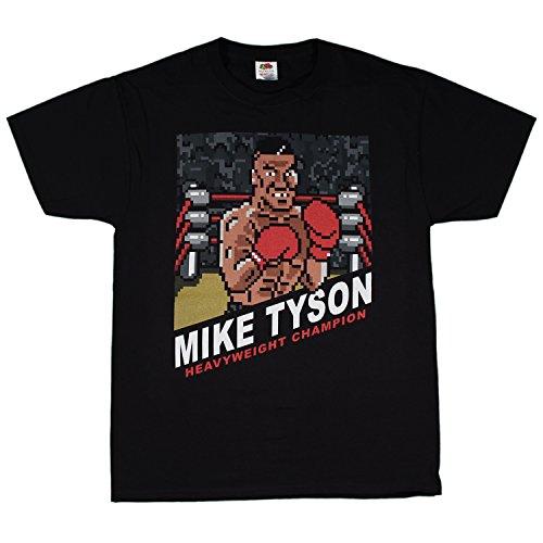 Mike Tyson Pixel Knock Out Retro Nes T Shirt   Black  Small
