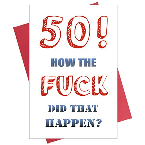 Funny 50th Birthday Card, 50 Birthday Card for Husband Wife Brother Sister Fifty Fiftieth Bday - 50th Cards Birthday