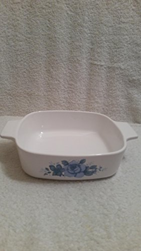 Vintage Corning Ware A-1-B Blue Velvet Roses Casserole Dish One Liter No Lid ()