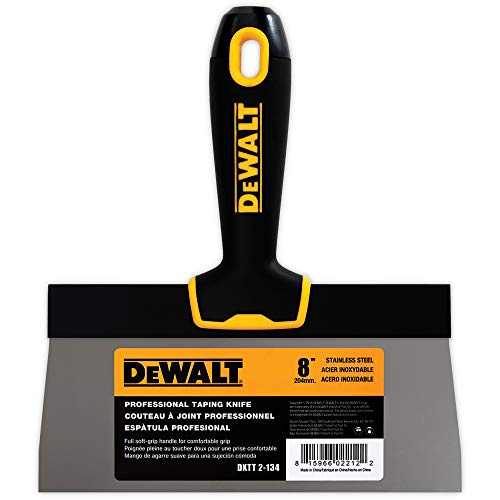 DEWALT 8-Inch Taping Knife | Stainless Steel w/Soft Grip Handle