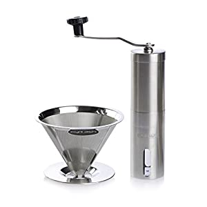 Cyril Ash Reusable Burr Manual Coffee Grinder and Pour Over Coffee Maker