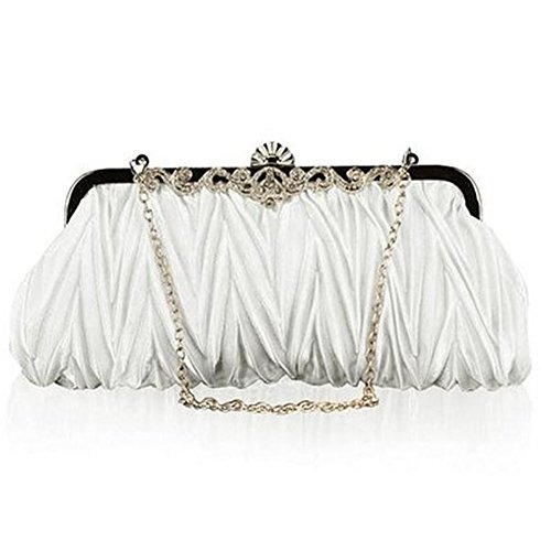 Party Evening Chain White Elegant Westeng Clutch Satin Women Wedding Handbag for Evening Bag Pleated 8ddOFqw