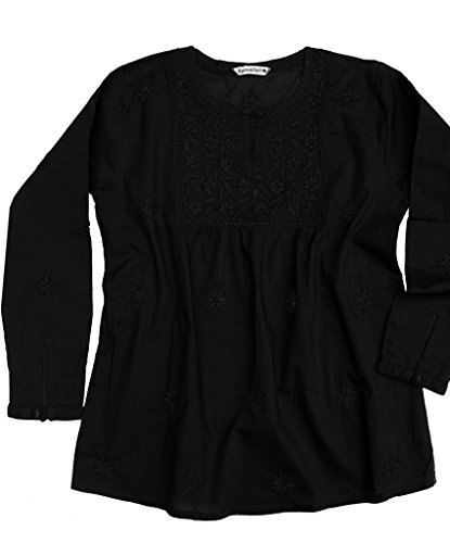 Ayurvastram Pure Cotton Hand Embroidered Boho Peasant Blouse Top Tunic – XS: Body Chest 32.5 inches, Black Embroidery on black