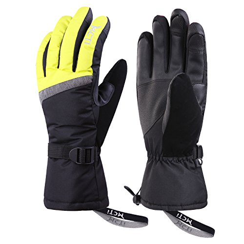 MCTi Ski Gloves,Winter Waterproof Snowboard Snow 3M Thinsulate Warm Touchscreen Cold Weather Women Gloves Wrist Band Yellow Medium 3 Meter Thinsulate Gloves