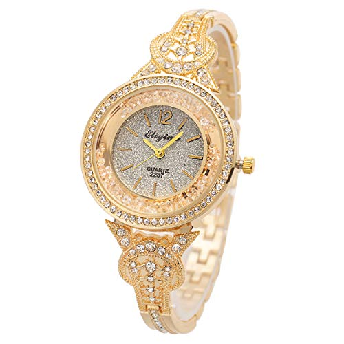 SIBOSUN Lady Women Wrist Watch Quartz Gold Stainless Steel Crystal Dress Fashion Bracelet