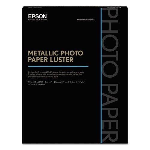 - - Professional Media Metallic Photo Paper Luster, White, 8 1/2 x 11, 25 Sheets