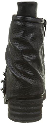Angkorly - Scarpe da Moda Stivaletti - Scarponcini biker cavalier bi-materiale donna borchiati perforato corda Tacco a blocco 4 CM - soletta Foderato di Pelliccia - Nero