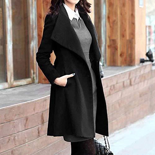 M Lacets Noir Des coloré Longues D'hiver Femmes Trench Noir Outwear qW0XUFwv