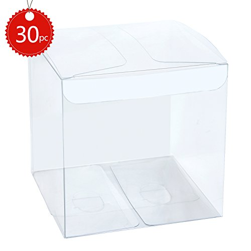 LaRibbons 30Pcs PET Transparent Boxes/Clear Gift Boxes for Wedding, Party and Baby Shower Favors, 4