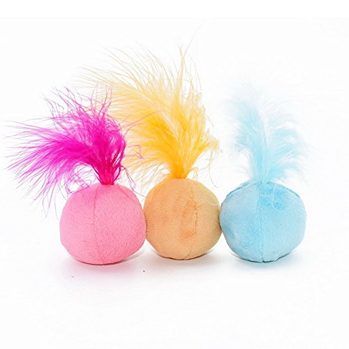PET SHOW Interactive Catnip Cat Toys Ball Soft Plush Balls Toy with Feathers and Bell Inside for Kitten Three Colors Pack of 3