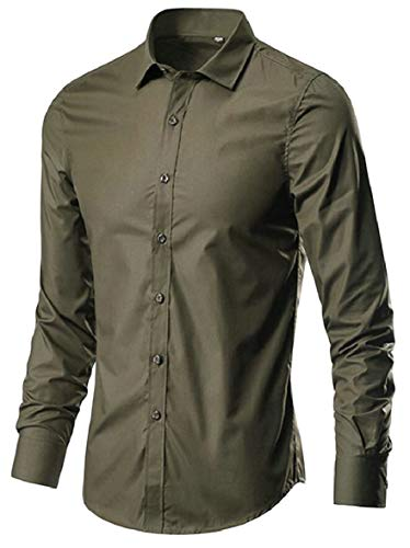 ArmyGreen AU Down Button Classic Sodossny Solid Long Men's Dress Sleeve Shirts Fit Slim Tqdqz18w7