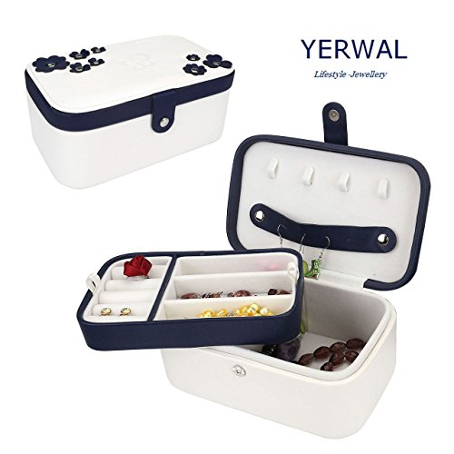 Yerwal Jewelry Box, Two-Layer PU Travel Jewelry Box Organizer Display Storage Case for Rings Earrings Necklace (Double-deck White) - Double Deck Organizer