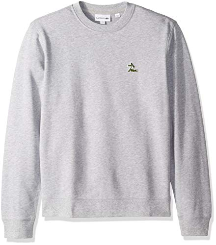 Lacoste Men's Long Sleeve French Terry Embroidered Graphic Sweatshirt, Silver Chine, ()