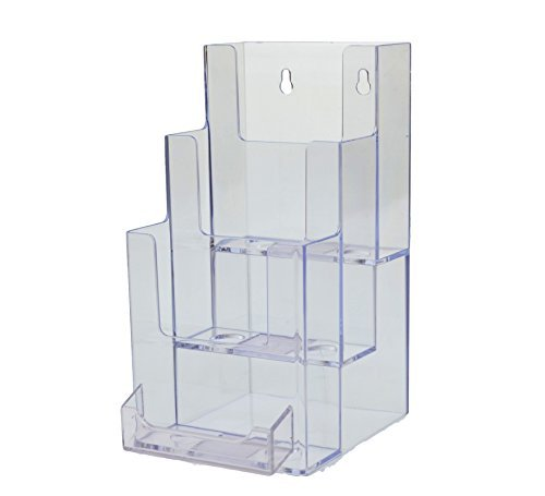 Marketing Holders Clear Acrylic 3-Tier Tri-Fold Wall Mount Countertop Brochure Holder with Business Card Attachment (pack of 24)