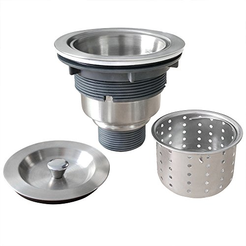 Gzila 3-1/2-Inch Kitchen Sink Strainer with Removable Deep Waste Basket/Strainer Assembly/Sealing Lid, 304 Stainless Steel Drain Brushed Nickel - 3 1/2 Kitchen Sink Strainer
