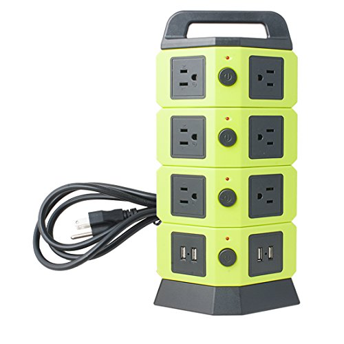 uxcell AC 110V-250V Overload Protection 10 US Socket 4 USB Charger Station Ports Switched Multi-outlet Power Socket Green (Outlet Ac Switched)
