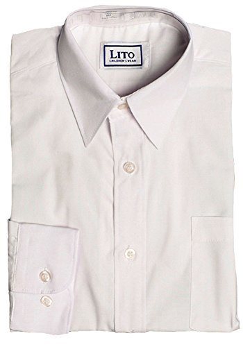 Lito White Long Sleeve Dress Shirt, Size 16 Husky - Fused Collar Down Button