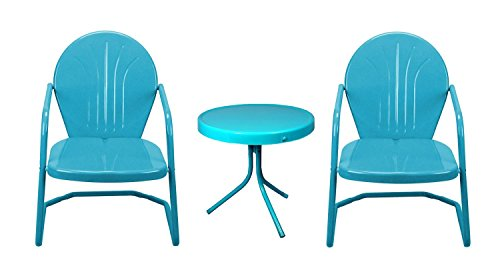 Retro Style 3-Piece Outdoor Tulip Chairs and Table Conversation Set, Turquoise Blue (Patio Retro Chair)