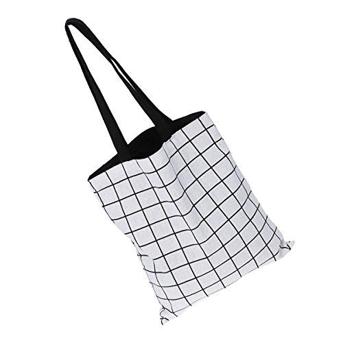 griglia Spalla Sacchetti Bag Bestoyard Bianca Del Sacchetto Lino Cotone Casuali Tote Di Griglia Donne Signore OAZ0H