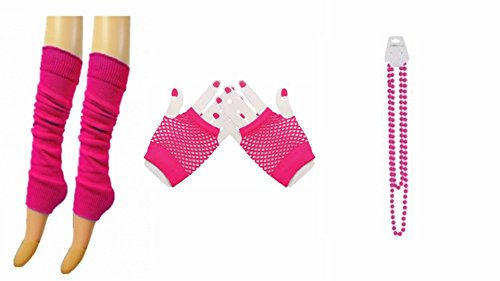 Crazy Chick 1980S Pink Short Fishnet Gloves Legwarmers & Beads Fancy Dress Accessories Set (Fishnet Topped)