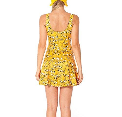Polyester Taille Sans en Court JTC Jaune Fille Femme Robe une Seul Manche Fibre w0FOvqO