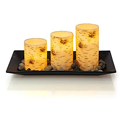 Dawhud Direct Birch Bark Candlescape Set, 3 LED Flickering Flameless Wax Candles, Decorative Tray, Rocks & Remote Control: Home & Kitchen