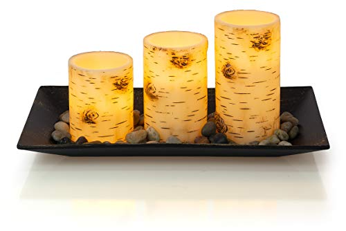 (Dawhud Direct Birch Bark Candlescape Set, 3 LED Flickering Flameless Wax Candles, Decorative Tray, Rocks & Remote Control)